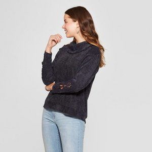 Knox Rose Crochet Turtleneck Sweater Navy Medium